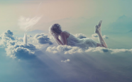 Clouds - dirl, women, female, milk bottle, abstract, clouds, fantasy, angel