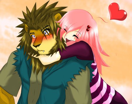 Kitty! - furry, cat, lion, sweet, cute, fuzzy, girl, anime, love, heart, awesome, pink hair, pink