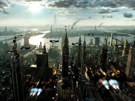 Future from a birds eye - flying, future, future civialization, new city, ships, city, birds eye