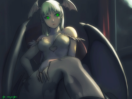 Morrigan Aensland - night warriors, wings, darkstalkers, green eyes, video games, succubus, anime, dark, head wings, morrigan aensland, long hair