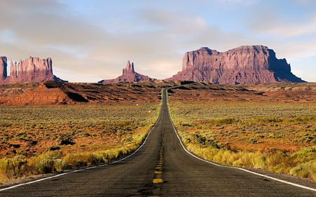 Road to the Desert - rocks, tufts, grasses, grass, vegetation, highway, road, deserted, nature