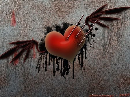 Broken heart - heart, wings, love, black, red, death, broken