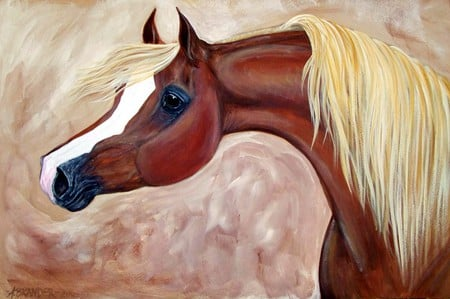 Horse Painting - brown, horses, animals, painting