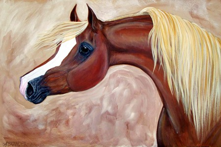 Horse Painting - painting, brown, horses, animals