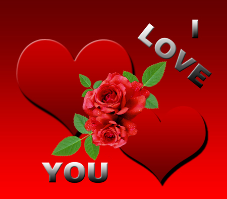I love you ~~~~ - him, red, leaves, her,
