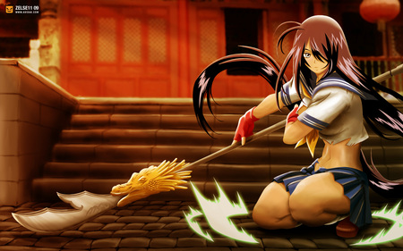 Kanu Unchou - kanu unchou, dark hair, ikki tousen, gloves, blade, anime, spear, weapon, long hair, blue eyes, unchou kanu, female, short skirt, kanu, girl, uniform, lone, torn clothing