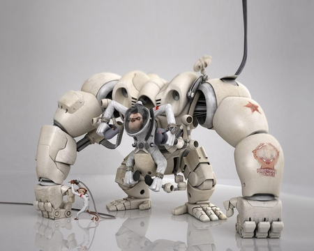 Monkey Robot  - abstract, monkey, robot, 3d