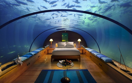 Submarine Hotel - submarine, hotel, fishes, water, bedroom, fantastic view