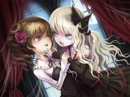 anime - vampires, black ahir, chibi, blue eyes, yelow hair