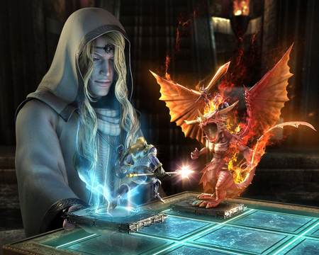 Wizard's  Game - broad, 07, knight, dragon, game, magic, fantasy, picture, wizard, rider, sword