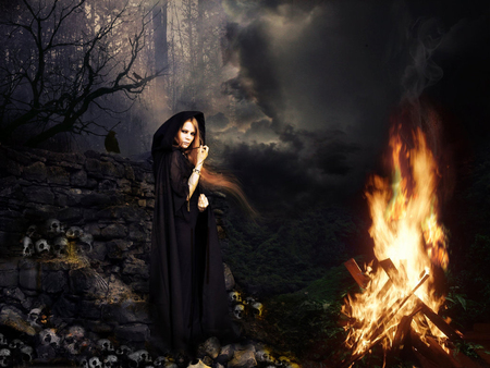 Black Magic - skulls, which, black, forest, spell, dark, spells, magic, black magic, fire, woman, evil, smoke, good, arts
