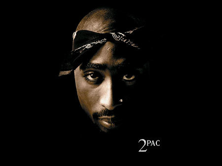 Tupac Amaru Shakur - tupac, mustache, tupac amaru shakur, music, hiphop, tupac shakur, nose ring, 2pac, hip hop, bald, black background, bandanna, face