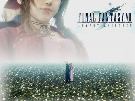 Cloud & Aerith - cloud, brown hair, aerith, video games, blonde hair, advent children, short hair, cloud strife, spiky hair, anime, aerith gainsborough, flowers, final fantasy, long hair