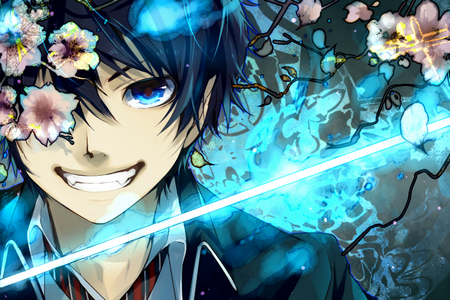 Okumura Rin - male, boy, ao no exorcist, flowers, okumura rin, grin, blue eyes