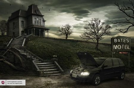 Bates Motel w/car - building, movie, car, funny