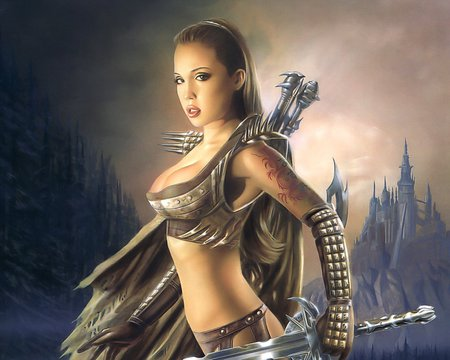 The Warrior - beauty, castle, woman, fighter, sword
