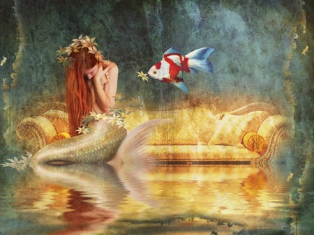 WHAT GOOD FRIENDS DO - female, fish, friendship, flowers, mermaid, reflection, friends