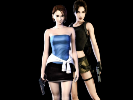 Jill Valentine and Lara Croft - awesome, lara, cool, jill