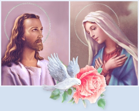 Jesus With Mary 3d And Cg Abstract Background Wallpapers On