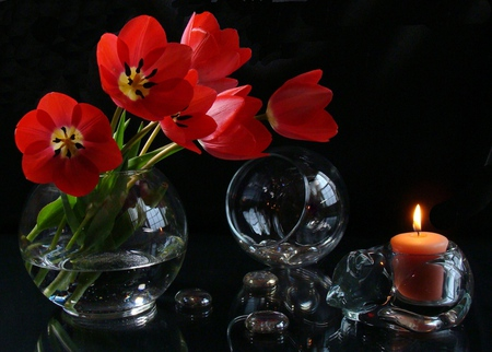 Still Life - with love, red, pretty, red tulips, glasses, vase, beautiful, still life, photography, flowers, beauty, tulips, for you, tulip, light, candle, lovely, romantic, romance, candles, glass, red tulip, dark, nature
