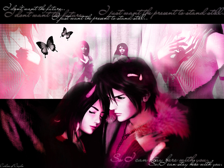 Rinoa Heartilly and Squall Leonhart - ff, squall, game, rinoa, leonhart, wallpaper, anime, love, final fantasy, heartilly, pink