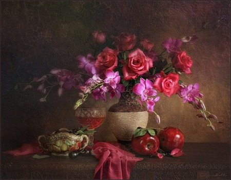 apple  red - table, apples, wine, vase, roses, fruit, scarf, wineglass, goblet, bowl