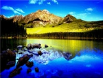 Lake, Forest, Mountain and Sky
