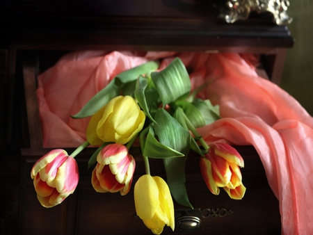 Tulips - with love, pretty, colorful, yellow, beautiful, still life, photography, flowers, beauty, tulips, for you, tulip, lovely, romantic, romance, colors, yellow tulips, nature