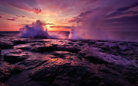 Superior Waves - shore, rocky, colors, beautiful, sunset, waves, clouds, breaking, beaches, windy, nature