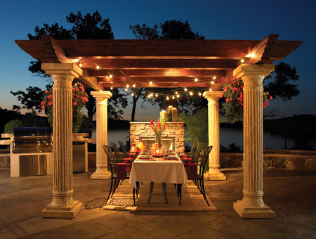 Tuscany evening - candles, tuscany, lake, pergola, romantic, flame, evening, tablecloth, dining, barbaque, fire, flowers, water, vase, table, beautiful, backyard, plates, romance, pillars, chairs