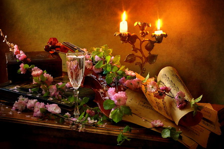 Cherry Blossom Sonata - flowers, sheet music, candles, candleholder, table, cherry blossoms, wineglass, still life, violin, blossoms, drinking glass