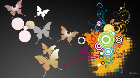 Butterflies Vector - bright, circles, vines, colors, firefox persona, swirls, lines, butterflies