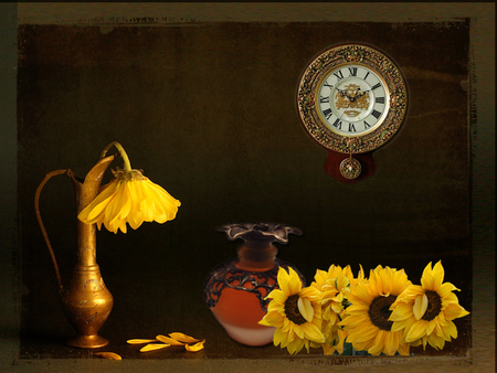 time to a change - still life, wall clock, sunflowers, vases, flowers