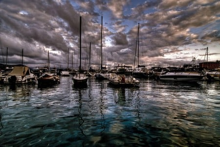 sailboats - wet, sky, clouds, sail, boats, photography, water, beauty, nature, reflections, sailboats