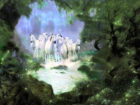 WILD HORSES - fantasy, horses, sky, forrest, green, art, wild