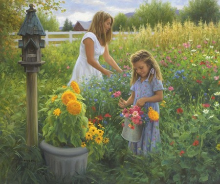 The Little  Things - fence, girl, birdhouse, flowers, urn, garden, mother