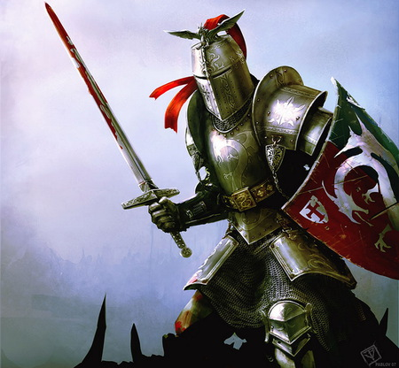 Knight - fantasy, knight, battle, blood, sword, abstract