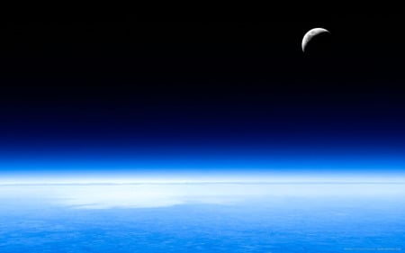 Lunaria - beautiful, space, widescreen, earth, high resolution, moon, crescent