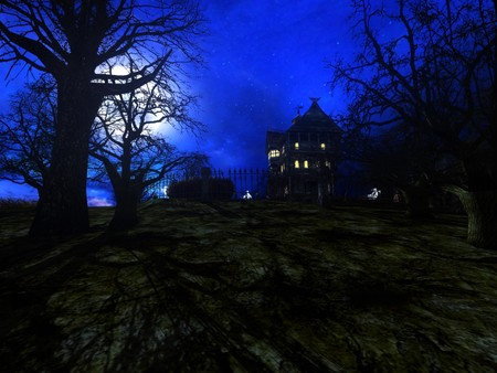 haunted house 3 - fantasy, blue, sky, house, night, dark, haunted house, trees