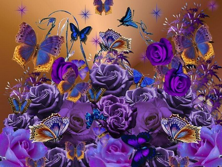 PURPLE ROSES AND BUTTERFLIES - flowers, purple, blue, butterflies, roses