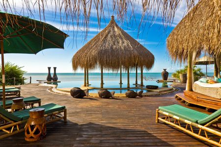 Paradise - hut, fish, umbrella, straw, lounges, bed, beach, board, nice, statues, deck, gorgeous, ocean, cabana, pool, water, paradise, vases, plants, tropical