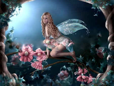 ENCHANTED FLOWER FAIRY - wings, enchanted, fantasy, fairy, female, tree, flower