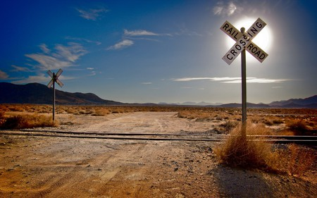 Railroad Crossing - railroad, railroad crossing, tracks, desert