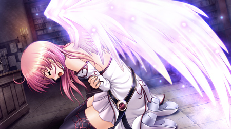 anime - thighhighs wings, aiyoku no eustia, game cg, bekkankou, eustia astraea, pink hair