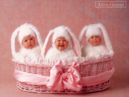 Funny bunnies :) - little, child, funny, bunnies, baby