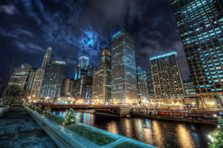 Chicago Cityscape (HDR) - bold, night, blue, dynamic