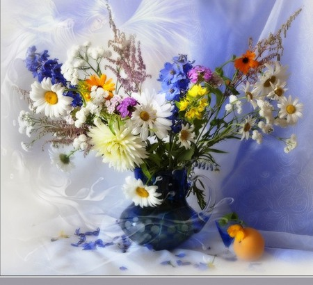 Still life - table, colorful, vase, variety of flowers, still life, color gradient, flower, arrangement, beauty, color, nature