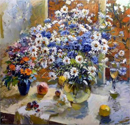 Анатолий Лукаш - table, art, still life, painting, flower