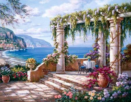 Sung Kim - mountain, sung kim, art, porch, painting, flower