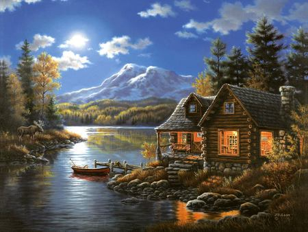 Judy Gibson - river, painting, house, tree, art, judy gibson, mountain, boat